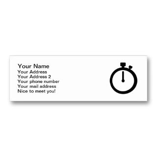 Stop watch time business cards