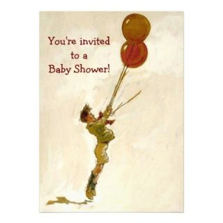 Vintage Boy with Red Balloons Baby Shower Announcements