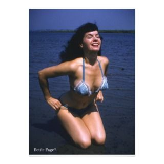 Bettie Page Sunning In Her Blue Vintage Bikini Personalized