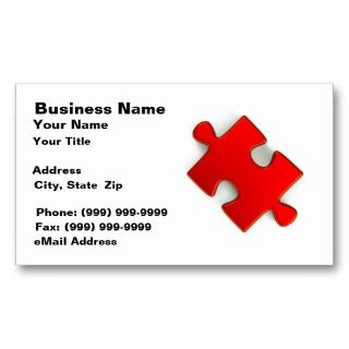 3D Puzzle Piece (Metallic Red) Business Card Templates