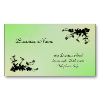 Green with Yellow Kiss Elegant Business Card