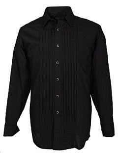 Homepage  Men  Shirts  Double TWO Black stitch pleat dress shirt