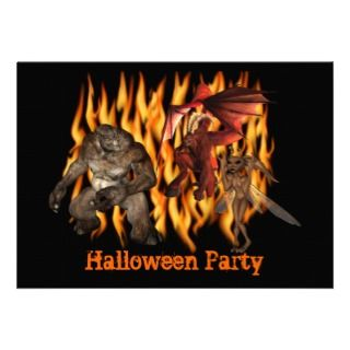 Ogre Monsters Flames Halloween Invitation