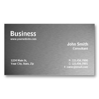Silver Professional Metal Elegant Modern Plain Business Card Templates