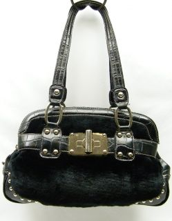 Kathy Van Zeeland Black Fuzzy Faux Fur Plush Studded Satchel Purse Bag