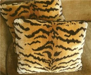 Scalamandre Tigre Silk Velvet Fabric Custom Designer Pillows Gold Pair
