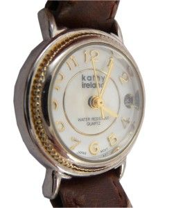 Kathy Ireland Ladies Watch w Date Elegant Pearl Dial Excellent Cond