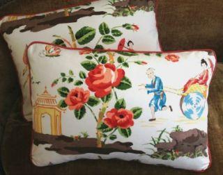 Scalamandre Fabric Custom Designer Throw Pillows Set 2 China Rose New