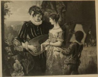 Antique Print A. Chaton The Balcony J.C. Edwards Man with Flute Woman