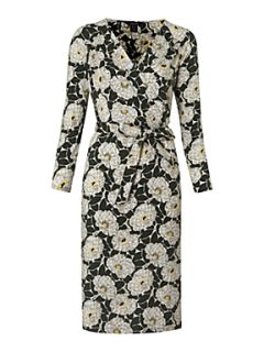 Lands End Women`s floral print crepe jersey wrap dress Green