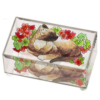 Geraniums Hand Painted Art Medium Beveled Glass Trinket Keepsake Box