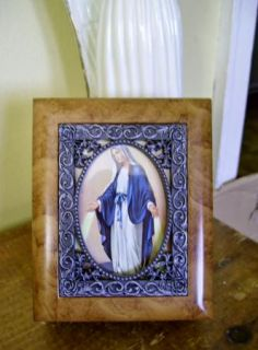 Our Lady of Grace Wood Rosary Holder Keepsake Box