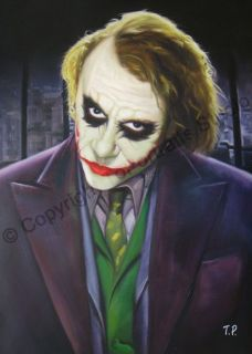 Keith Ledger The Joker The Dark Knight Batman Original Oil Painting on