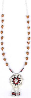 MENS WOMENS GHOST BEAD CEDAR BEAD PENDANT NECKLACE#31, NATIVE AMERICAN