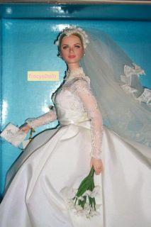 Silkstone Grace Kelly Bride Barbie Detailed Gown Pearl Earrings by