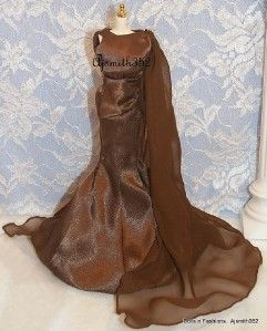 Barbie Doll & Friends SilkStone Gorgeous Brown Charmeuse Fashion Gown