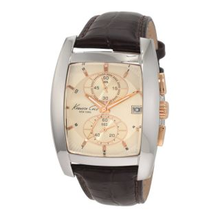 Kenneth Cole New York KC1523 Mens Gold Dial Pig Skin Leather Strap