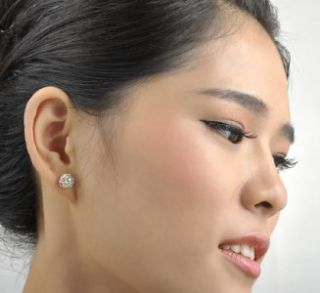 18K White Gold GP Color Multi Austrian Swarovski Crystal Ball Earrings
