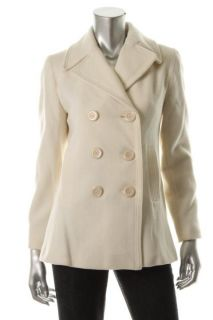 Kenneth Cole New Ivory Wool Double Breasted Pea Coat Jacket Petites 6P
