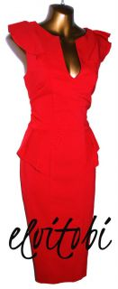 New Hybrid Sexy Red Fitted Vintage Style Pencil Wiggle Dress Sizes 8
