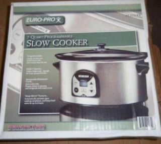 New EURO PRO 7 Quart Programmable Slow Cooker Stainless Steel & Black