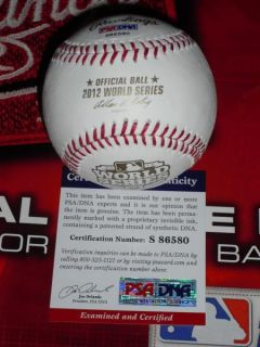 Quintin Berry Signed 2012 World Series Baseball Detroit Tigers PSA DNA