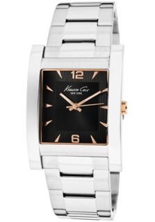 Kenneth Cole Watch KC9144 Mens Black Dial Rose Gold Tone Accents
