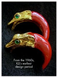 KENNETH JAY LANE 1960s K.J.L. Mark Spectacular Red Enamel Snake Hoop