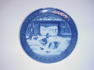 Royal Copenhagen Denmark Christmas Plate in The Old Farmyard 1969