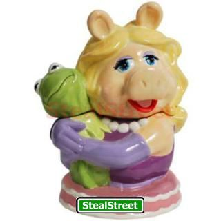 Collectible Miss Piggy Hugging Kermit Painted Ceramic Cookie Jar