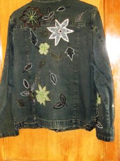 Keren Hart Denim Jean Jacket Beaded Flowers Large