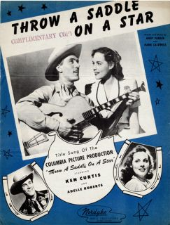 Throw A Saddle on A Star starring Ken Curtis 1946 Sheet Music