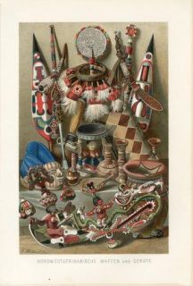 WEST AFRICA WEAPONS ANTIQUITY Antique Chromolithograph Print A.Kerner