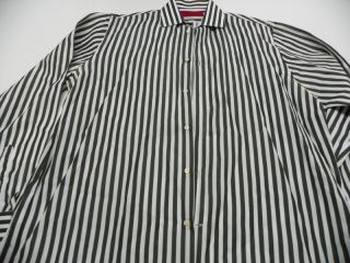 Carolina Herrera Italy Hunter Green White Stripe Dress Shirt Cotton 16