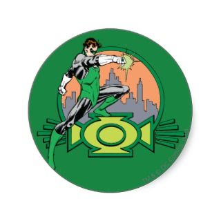 Green Lantern City Background and Logo Round Stickers