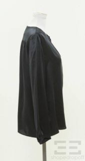 Chloe Dark Blue Silk Keyhole Blouse Size 38