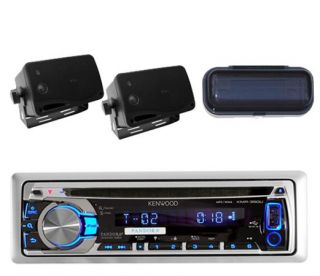 New Kenwood Marine CD Radio iPod iPhone Receiver 2 Black Box Speakers