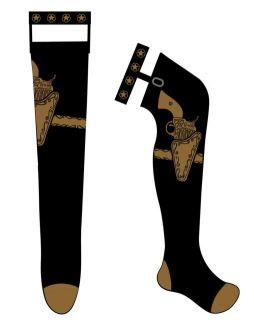 Too Fast Gothic Punk Emo Gun Steampunk Tattoo Rockabilly Garter Socks