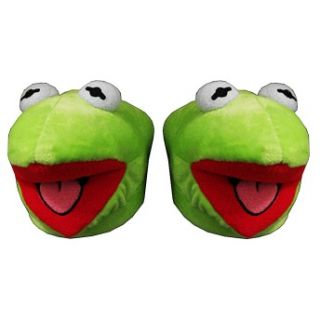 Kermit The Frog The Muppets Face Jim Henson Adult Plush Mens Slippers