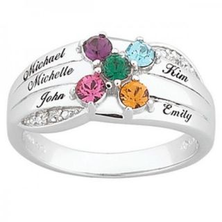 Sterling Silver Round Mothers Name Birthstone Ring 2 to 6 Stones