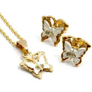 Set Gold 18K GF Teens Girl Kids Earrings Pendant Fun Butterfly Two