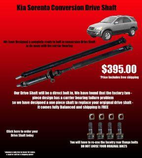 2002 2006 Kia Sorento Conversion Rear Drive Shaft Brand New No Core