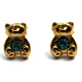 Austrian Crystal Baby Blue Teddy Bear Animal Earrings Kids Girl