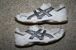 Asics Gel Rocket white gray & black athletic volleyball shoes   eleven
