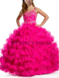 Girl Kids Pageant Dress Bridesmaid Dance Party Princess Ball Gown