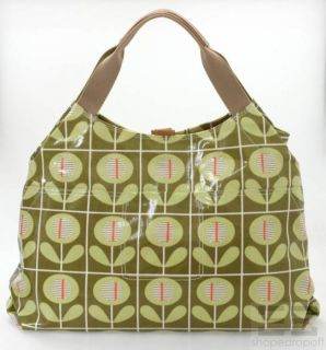 Orla Kiely Green Print Coated Canvas Leather Trim Tote Bag
