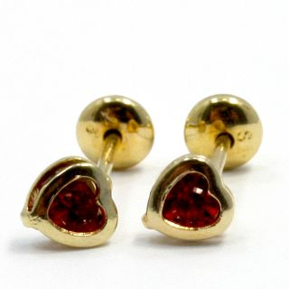 Gold 18K GF Earrings Kids Girl High Security Baby Red Austrian Crystal