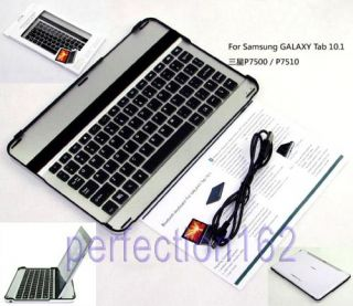 Aluminum Bluetooth Keyboard Dock Case for Samsung Galaxy Tab 10 1