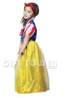 New Snow White Kids Halloween Costume Dress Gown Outfit Cosplay Girl