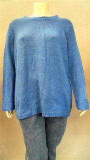 Kim Rogers 2pc Plus Womens 2X Comfort Crew Neck Pullover Sweater Blue